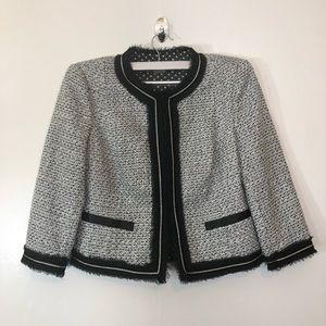 Peter Nygard Black/White Tweed Woven Blazer 6P